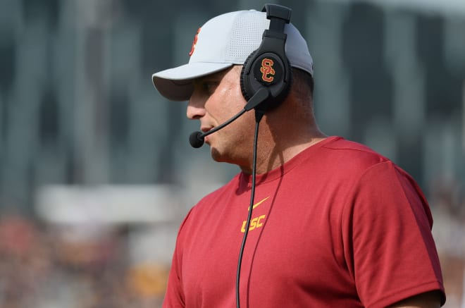TrojanSports - USC's Clay Helton: 'What the future holds, that's for smarter men than me'