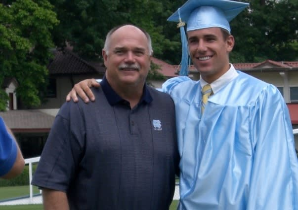 Andrew Wasserman (pictured with John Bunting) took a different and fascinating path to his UNC football experience.
