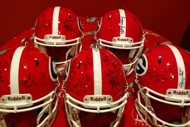 The first five fully signed helmets belonging to the Ultimate UGA Legends Collectors Helmet Set.
