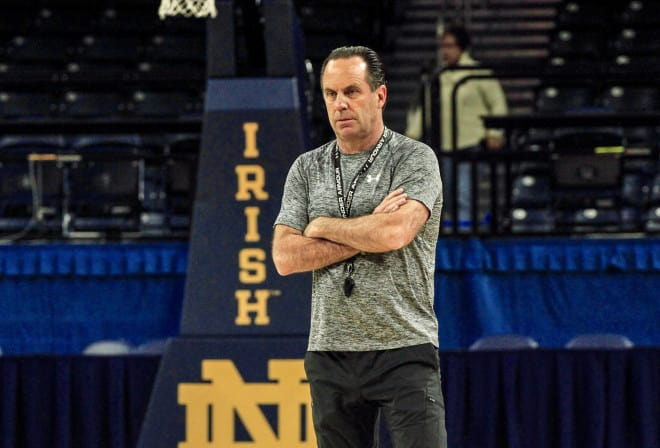 Notre Dame men's basketball coach Mike Brey during practice
