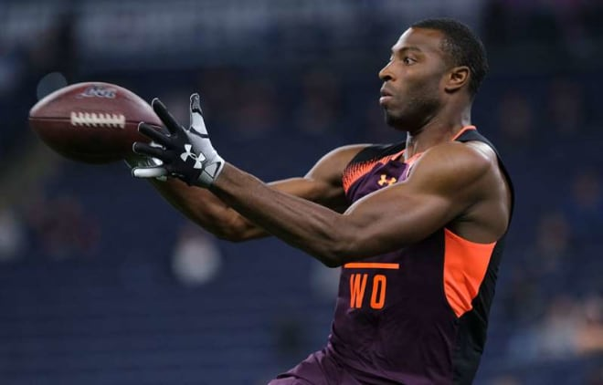 Former Notre Dame wide receiver at the 2019 NFL Combine. Boykin was a third round pick by the Baltimore Ravens (Associated Press)