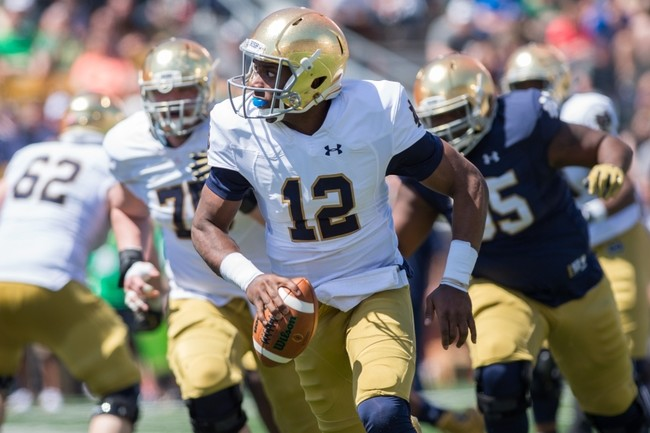 Quarterback Brandon Wimbush is one of four Notre Dame sophomores changing his jersey number.