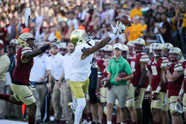 Notre Dame WR Freddy Canteen out for year with torn labrum