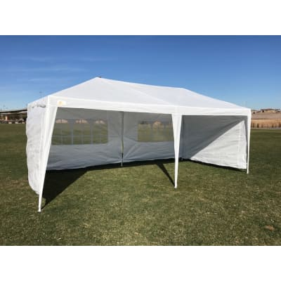Palm Springs 10' x 20' White Canopy Party Tent with 4 Sidewalls