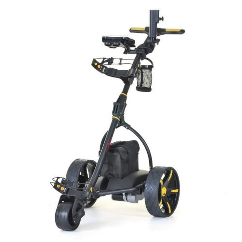 Caddymatic V2 Electric Golf Trolley / Cart With 18 Hole battery With Auto-Distance Functionality Yellow