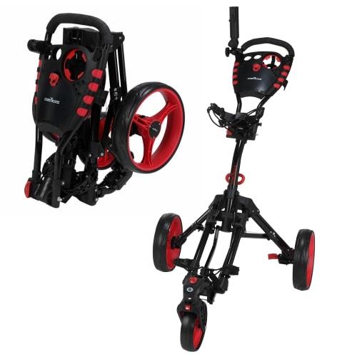 Caddymatic Golf 360° SwivelEase 3 Wheel Folding Golf Trolley Black/Red