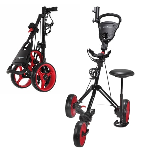 Caddymatic Golf X-TREME 3 Wheel Push/Pull Golf Tolley with Seat Black/Red