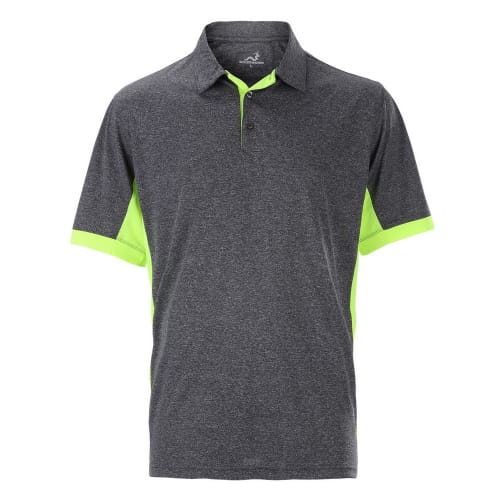 Woodworm Heather Golf Polo Shirts - Grey / Neon
