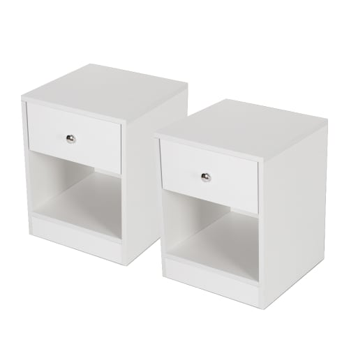 Homegear Bedroom Furniture 2 Piece Bedside Table Set, White