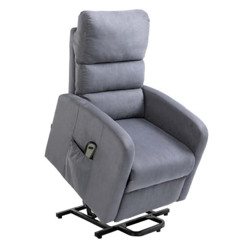 Homegear Microfibre Power Lift Riser Recliner Chair with Electric Recline and Remote - Charcoal