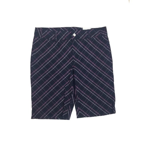 Ashworth Ladies Modern Navy Shorts with Pink Checks - Size 6