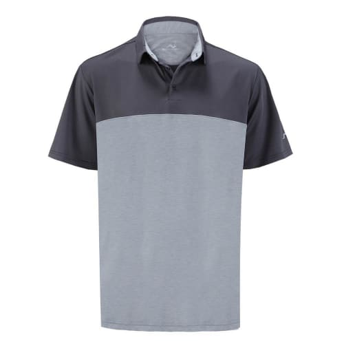 Woodworm Golf Shirts - Heather Panel Polos - Mens - Grey
