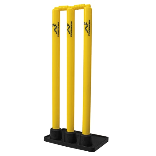 Woodworm Cricket Heavy Duty Rubber Base Stump and Bails Set