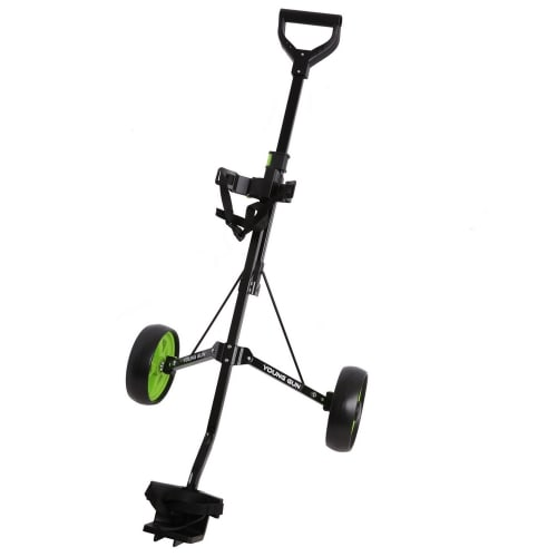 Young Gun Kids Adjustable Golf Trolley for Junior Golfers 3-14 Years Old Black/Green