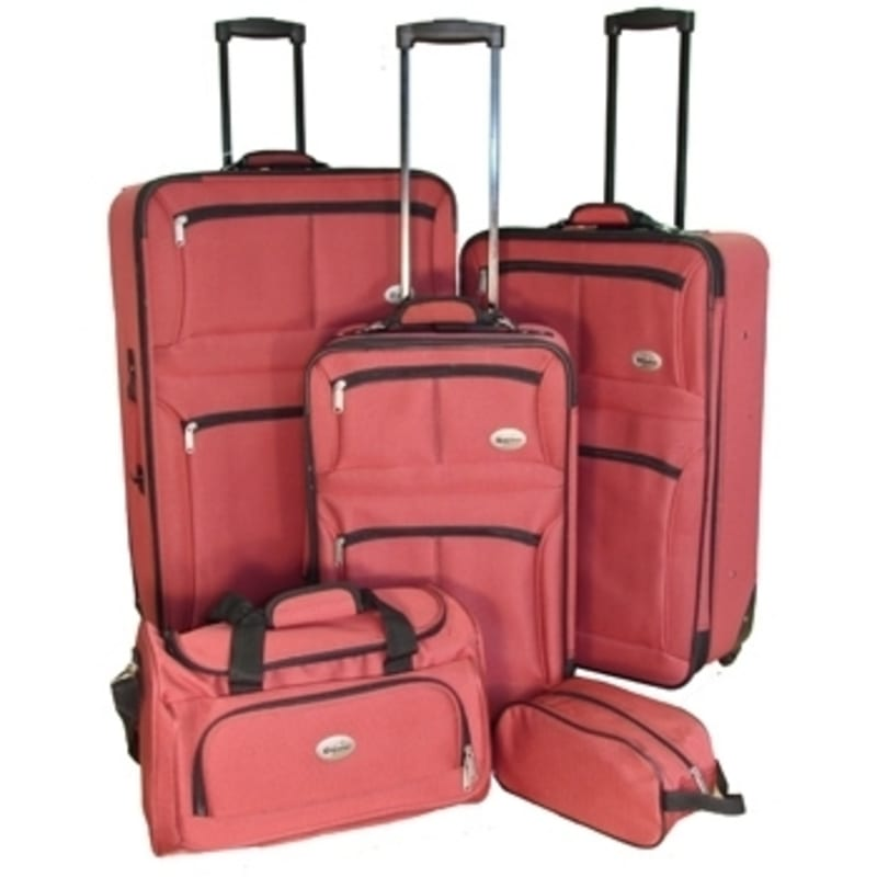 OPEN BOX Confidence 5 Piece Expandable Suitcase Set Red