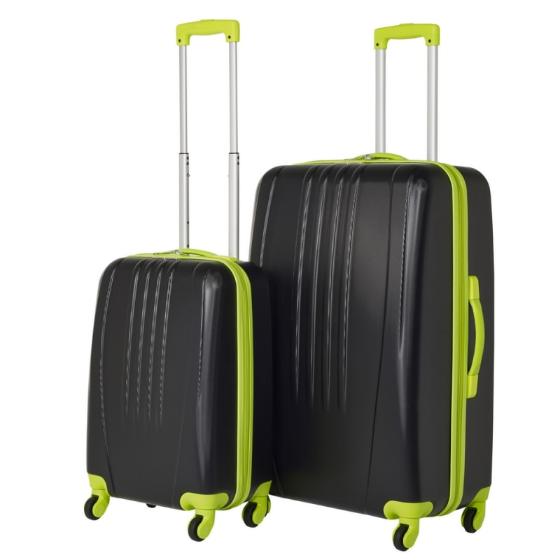 Swiss Case 4 Wheel Bold 2Pc Suitcase Set - Black / Neon