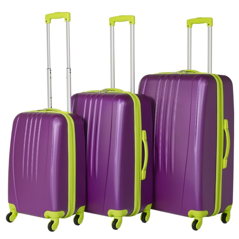 Swiss Case 4 Wheel Bold 3Pc Suitcase Set - Purple / Lime