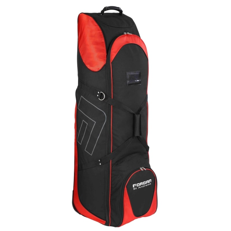 OPEN BOX Forgan of St Andrews Deluxe Large Golf Travel Bag / Flight Cover with Wheels Black/Red #1