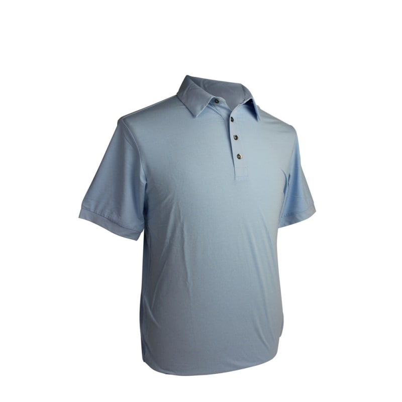 BLUE - Adidas Mens AdiPure Heather Short Sleeve Polo