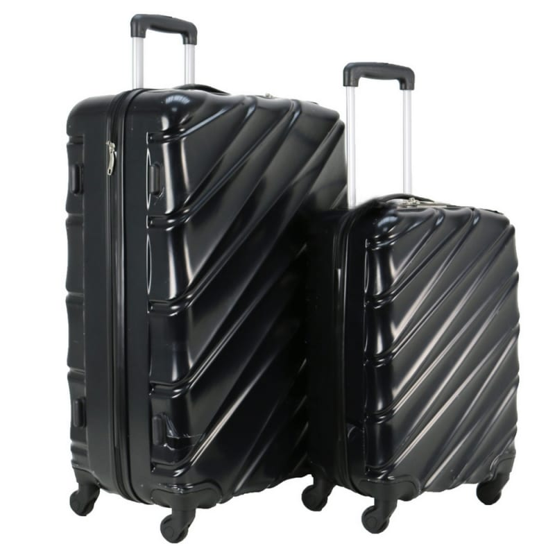 f2e6967d3 Swiss Case 4 Wheel Wave 2Pc Suitcase Set - Black - The Sports HQ