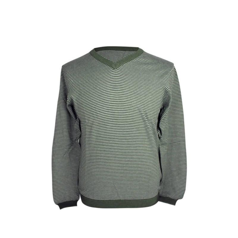 Ashworth Mens Mini Stripe V neck Sweater Thyme