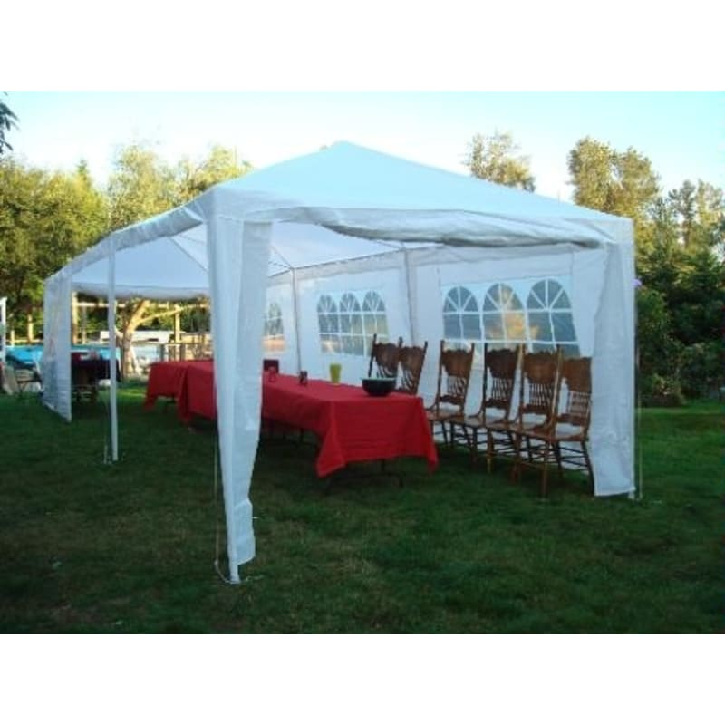 Palm Springs 10' x 30'  White Party Tent with 8 Sidewalls #