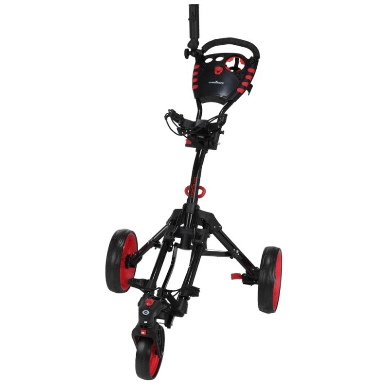 Caddymatic Golf 360° SwivelEase 3 Wheel Folding Golf Cart Black/Red #