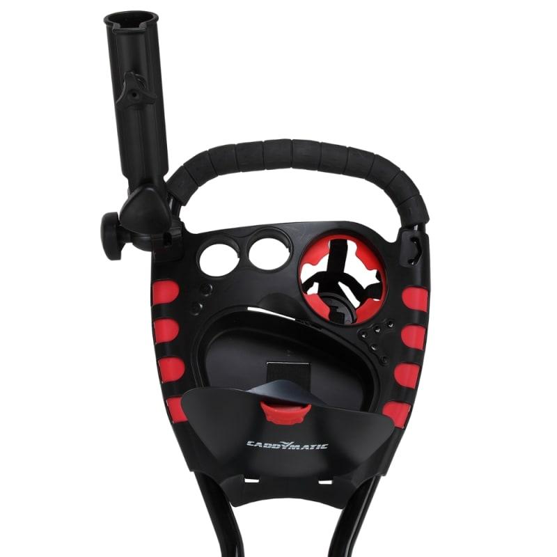 Caddymatic Golf 360° SwivelEase 3 Wheel Folding Golf Cart Black/Red #2