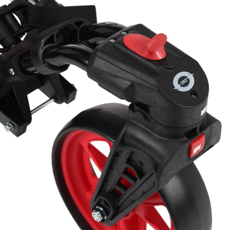 Caddymatic Golf 360° SwivelEase 3 Wheel Folding Golf Cart Black/Red #4