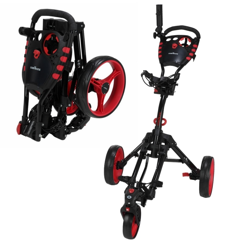 Caddymatic Golf 360° SwivelEase 3 Wheel Folding Golf Trolley Black/Red