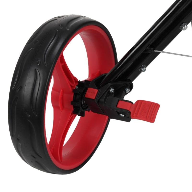 Caddymatic Golf Quad 4-Wheel Folding Golf Pull / Push Cart Black/Red #5