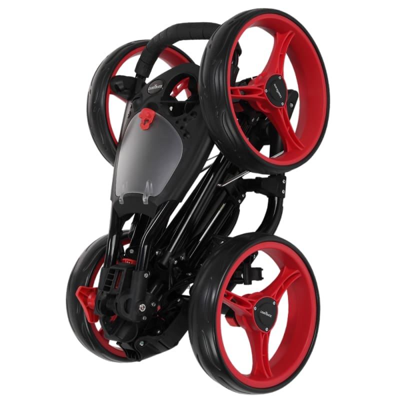 Caddymatic Golf Quad 4-Wheel Folding Golf Pull / Push Cart Black/Red #6