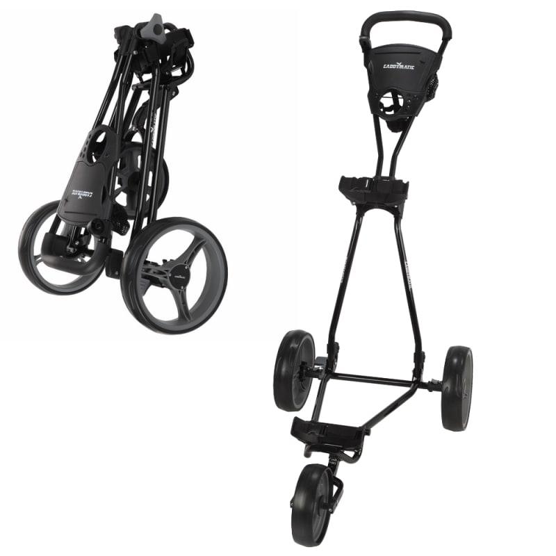 Caddymatic Golf Continental 3 Wheel Folding Golf Push/Pull Cart Black/Grey