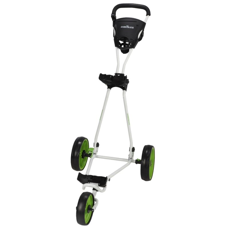 Caddymatic Golf Continental 3 Wheel Folding Golf Push/Pull Cart White/Green #