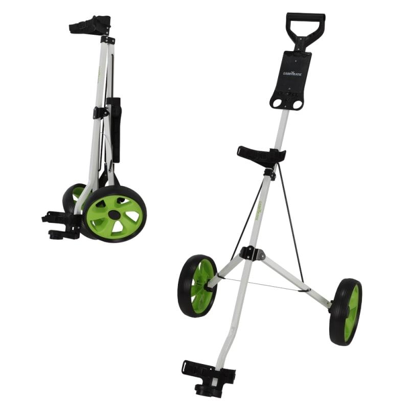 Caddymatic i-Trac 2 Wheel Folding Golf Trolley White/Green