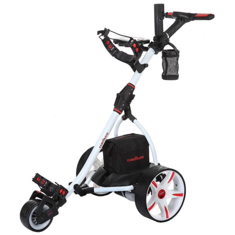 Ex-Demo Caddymatic V2 Electric Golf Trolley / Cart with Upgraded 36 Hole Battery With Auto-Distance Functionality - White