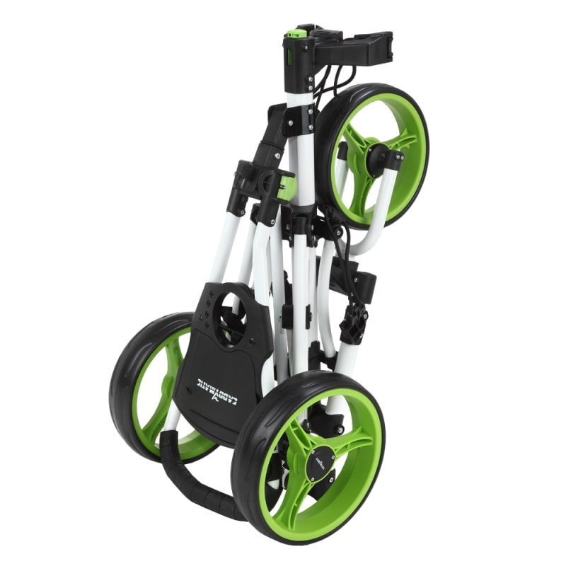 Caddymatic Golf X-Lite One-Click Folding Pull/Push Golf Cart White/Green #1