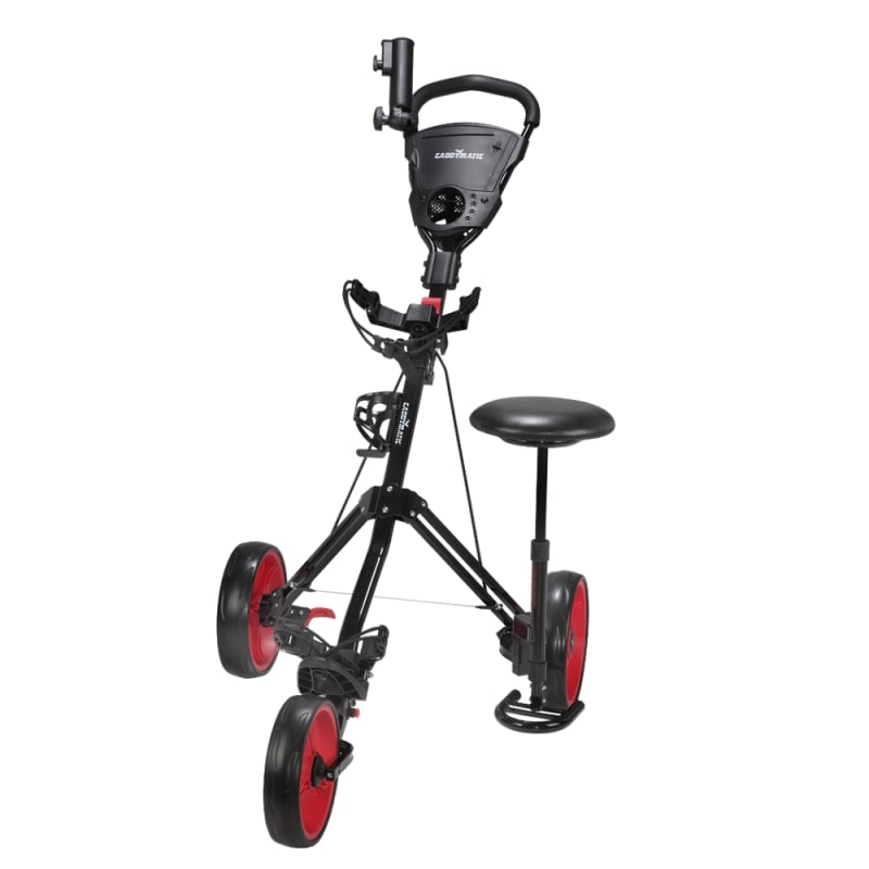 Caddymatic Golf X-TREME 3 Wheel Push/Pull Golf Cart with Seat Black/Red #