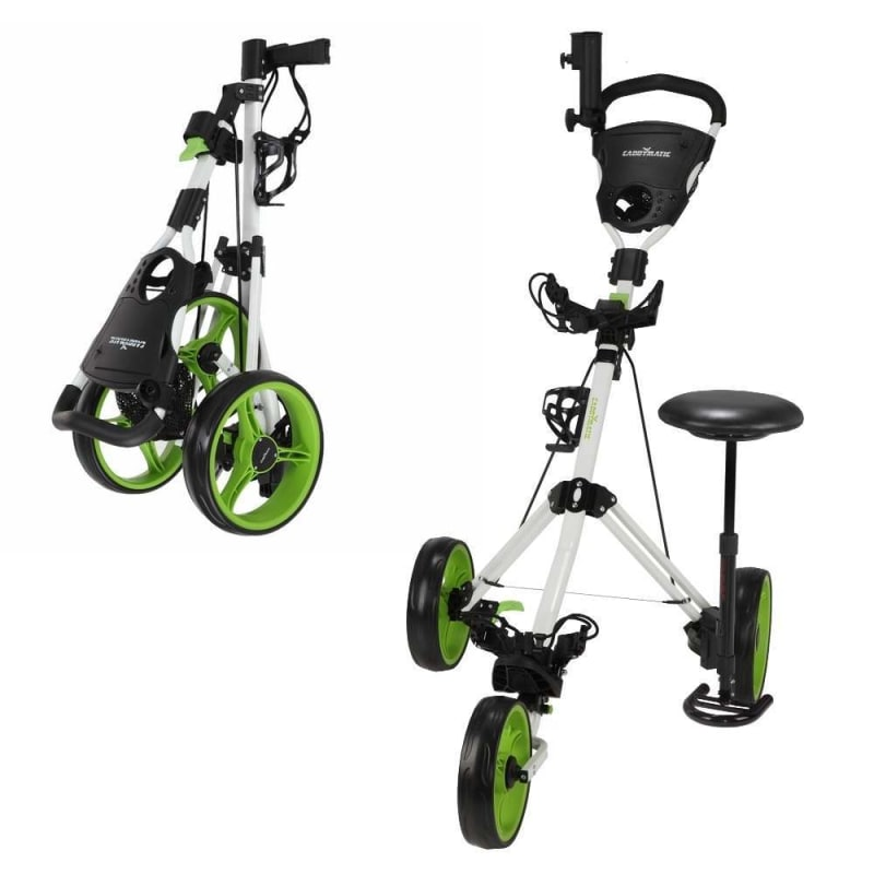 OPEN BOX Caddymatic Golf X-TREME 3 Wheel Push/Pull Golf Cart with Seat White/Green