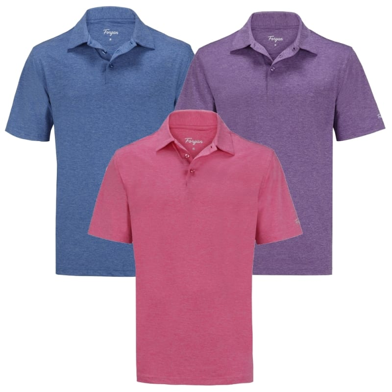 OPEN BOX Forgan of St Andrews Premium Heather Golf Shirts 3 Pack - Mens