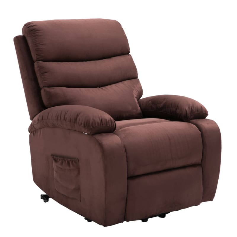 Homegear 2-Remote Microfiber Power Lift Electric Recliner Chair V2 with Massage, Heat and Vibration with Remote - Brown #3