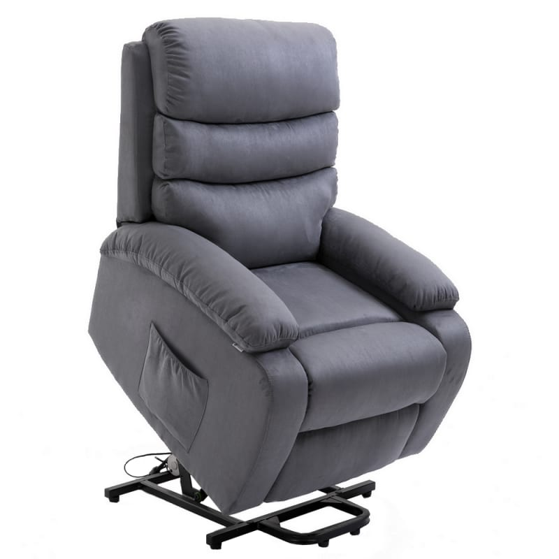 Homegear Microfiber Power Lift Electric Recliner Chair with Massage, Heat and Vibration with Remote - Charcoal #1