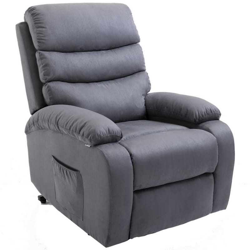 Homegear Microfiber Power Lift Electric Recliner Chair with Massage, Heat and Vibration with Remote - Charcoal #4