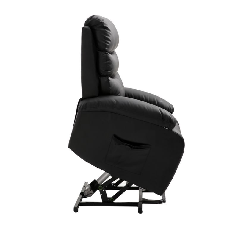 Homegear PU Leather Power Lift Electric Recliner Chair with Massage, Heat and Vibration with Remote - Black #2