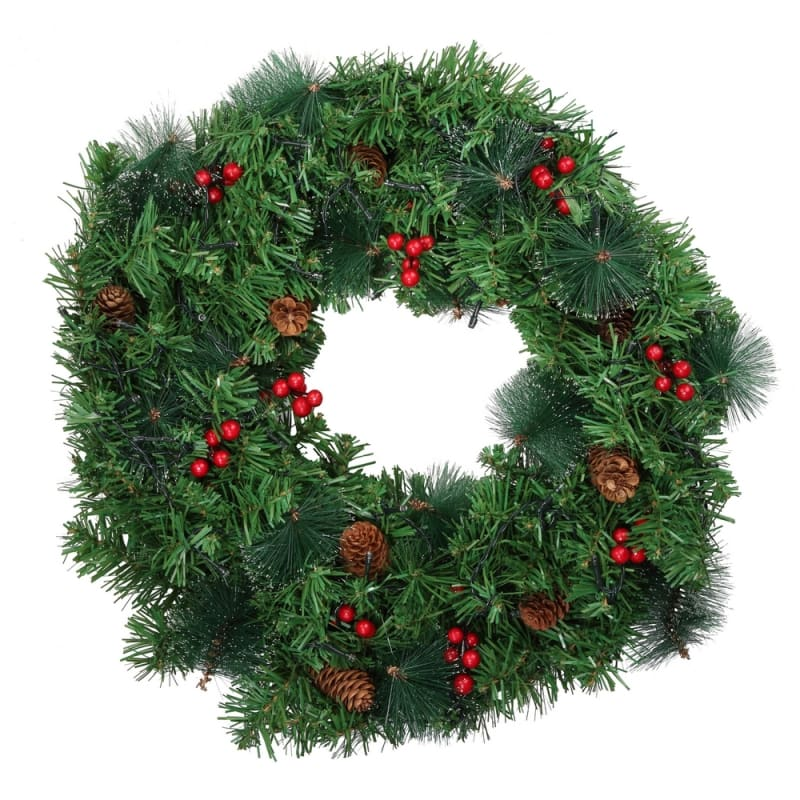 "Homegear Christmas 30"" Decorated Christmas Wreath with Lights - Green Spruce with Berries and Pinecones #1"