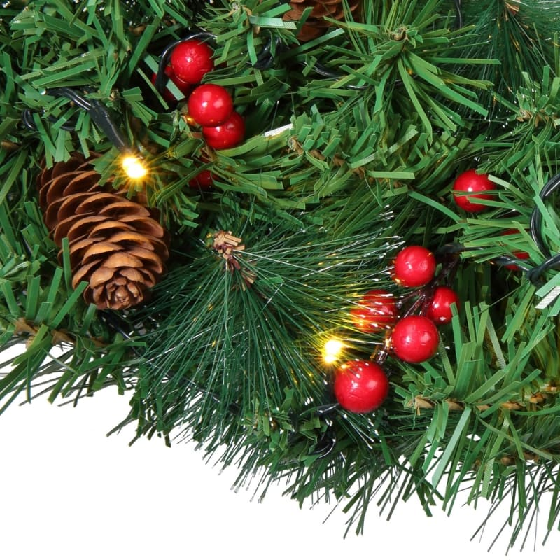 """Homegear Christmas 30"""" Decorated Christmas Wreath with Lights - Green Spruce with Berries and Pinecones #2"""