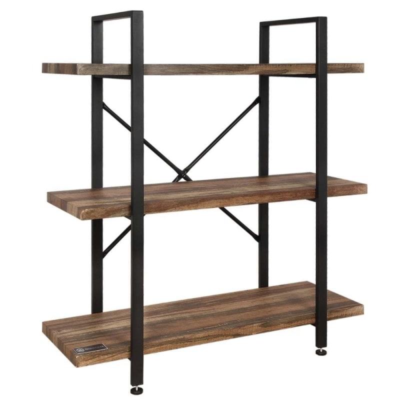 Homegear Furniture Vintage Oak Style 3-Tier Bookcase - Wood Shelves with Black Iron Frame