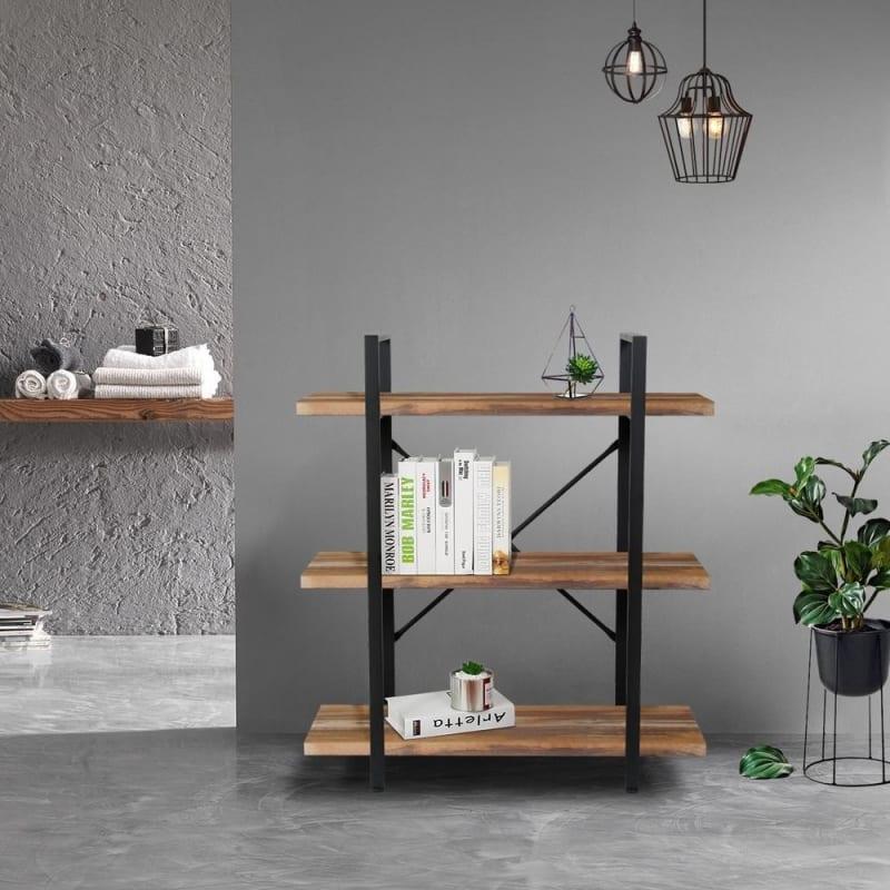 Homegear Furniture Vintage Oak Style 3-Tier Bookcase V2 - Wood Shelves with Black Iron Frame #1