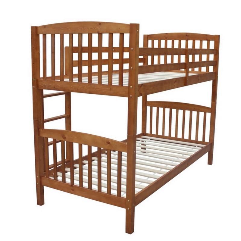Homegear 3FT Single Wooden Bunk Bed Honey