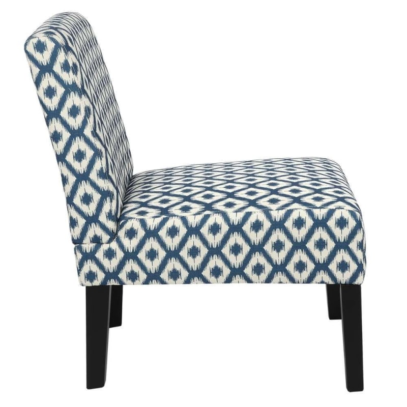 Homegear Home Furniture Accent Armless Chair - Contemporary Designs - Blue Diamonds #2